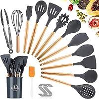 amayga utensili cucina set,25 pezzi set di utensili da cucina in silicone,resistente al calore con manico legno antiaderenti da cucina strumento di cottura termoresistenti-grigio