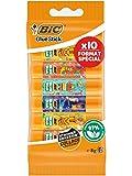 BIC ECOlutions Bâtons de Colle Blanche 8g - Plastique Recyclé - Décors Assortis, Blister Format Spécial de 10