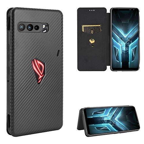 HH-Phone Funda para Asus ROG Phone 3 ZS661KS Textura de fibra de carbono Magnética Horizontal Flip TPU + PC + PU Funda de piel con ranura para tarjeta hangma (color negro)