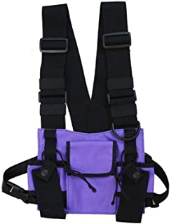 YWSCXMY-AU Fashion Nylon Chest Rig Bag Black Vest Hip Hop Streetwear Functional Tactical Harness Chest Rig Pack Chest Bag (Color : Purple)
