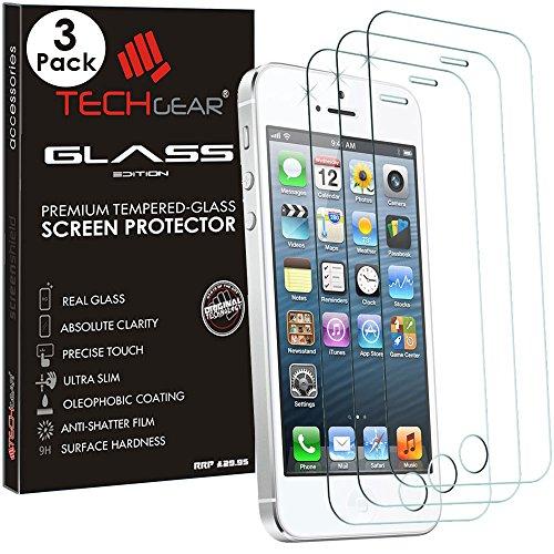 TECHGEAR [3 Pezzi Vetro Temperato Compatibile con iPhone SE / 5s / 5c / 5 - Autentica Pellicola Protecttiva in Vetro Temperato Salvaschermo per Apple iPhone SE / 5s / 5c / 6