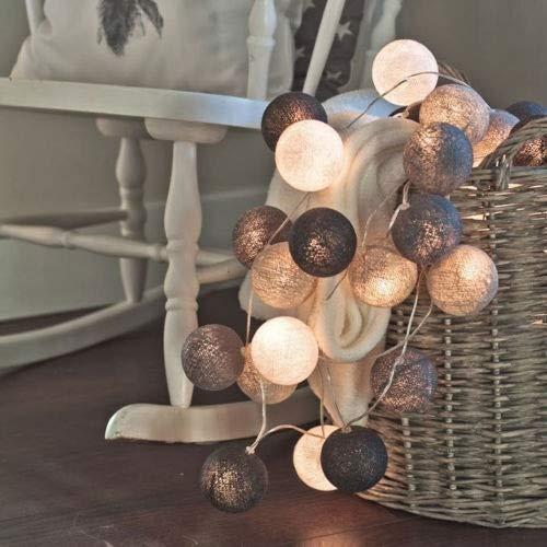 Guirnalda de 20 luces LED de algodón para decoración de fiestas, cuerdas de iluminación de hadas para exteriores, bodas, Navidad, fiestas, decoración del hogar (Color emisor: gris, Potencia: por USB)