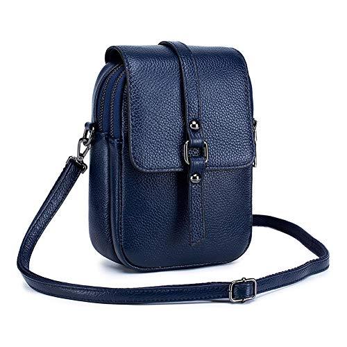 Katech - Bolso bandolera de piel para mujer, tamaño pequeño, estilo vintage, para teléfono móvil de menos de 7 pulgadas, azul cobalto (Azul) - KATECHXNO00555