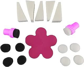 yueton 18pcs Nail Art Trigonal and Cylindrical Sponge Stamping Manicure Polish Stamper Flower Plate DIY Design Decoration Tool Set Kit