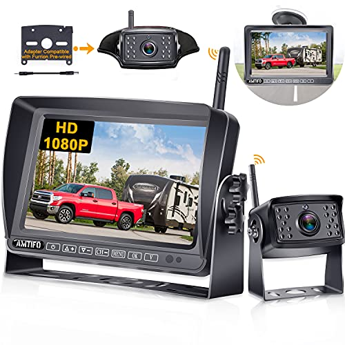 Wireless Backup Camera for RV AMTIFO HD 1080P Rear View Camera with 7 Inch DVR Monitor Adapter Compatible with Furrion Pre-Wired RVs,Trailers,5th Wheel,IR Night Vision - A5