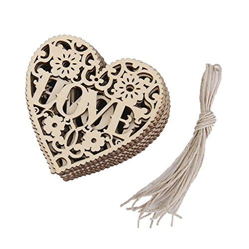 Honearn 10PCS amore cuore in legno abbellimenti Crafts sarchiatura decorazione da appendere all' albero di Natale ornamento 8x 8cm