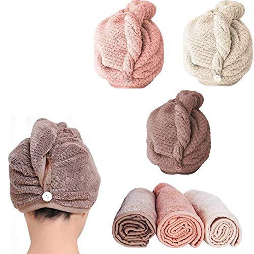 Queta 3pcs Haartrockentuch Schnelltrocknendes Handtuch Haarturban 3Stück Pink, Weiß und Kaffeebraun für Frauen