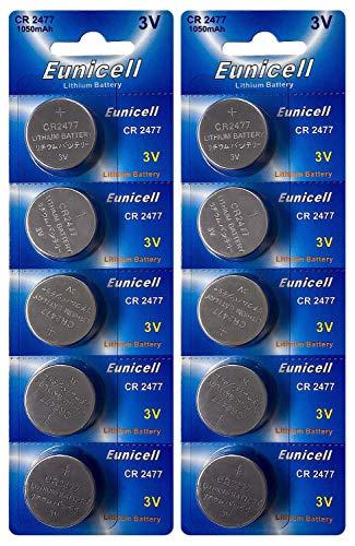 Eunicell 10 x CR2477 3V Lithium Knopfzelle 1050 mAh (2 Blistercard a 5 Batterien) EINWEG