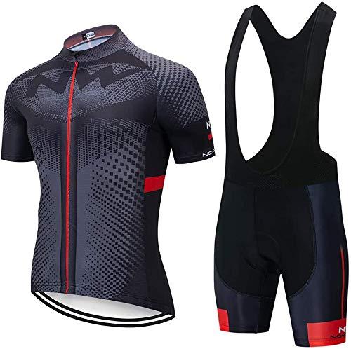 Été Tenue VTT Pro pour Homme, Maillot de Cyclisme à Manches Courtes + Vêtement Combinaison Cycliste et Cuissard à Bretelle Vélo Route avec 5D Gel Rembourré
