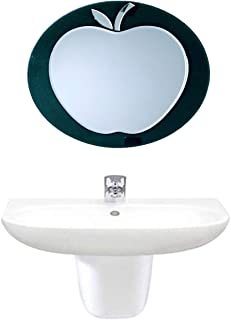 EyeonBay Kichen & Home Appliances Frameless Apple Designed Background Mirror for Wall, Bathroom, Décor (16 x 16 Inches, Black)