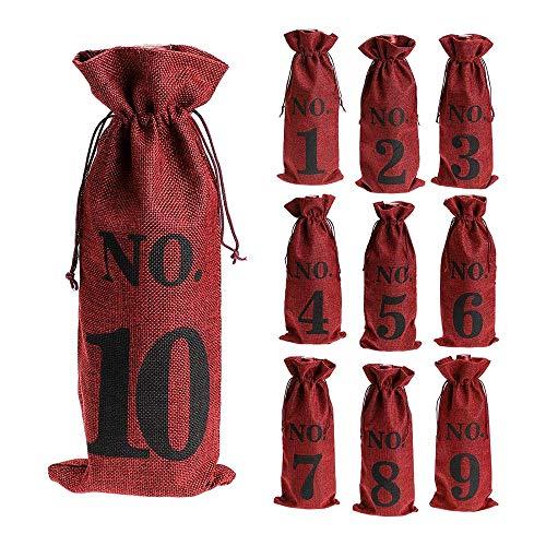 Baalaa 1 una 10 Bolsas de Vino de Arpillera DegustacióN de Vino Ciega, Bolsas de Vino NúMeros de Mesa de Boda, Bolsas de DegustacióN de Vino, Fiesta, Navidad, 10 Piezas, Rojo