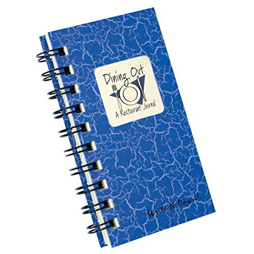 """Journal Unlimited""""Write it Down!"""" Serie, geführtes Tagebuch, Essen, Restaurant-Tagebuch, Mini-Größe, 7,6 x 14 cm, mit blauem Hardcover, aus recycelten Materialien"""