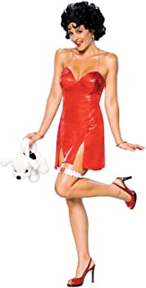 Betty Boop Rubies Costume with Red Dress and Wig Womens Sizes