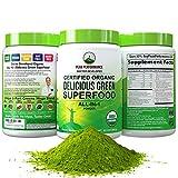 Peak Performance Organic Greens Superfood Powder. Best Tasting Organic Green Juice Vegan Super Food with 25+ All Natural Ingredients for Max Energy and Detox. Spirulina, Spinach, Kale, Probiotics