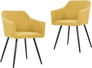 vidaXL 2X Sillas de Comedor Asiento Mobiliario Muebles de Salón Sala de Estar Cocina Hogar Escritorio Suave Cómodo Respaldo de Tela Amarilla
