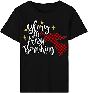 Women's Christmas T-Shirts Letter Print Angel Pattern Loose Short Sleeve O-Neck Tunic Tops