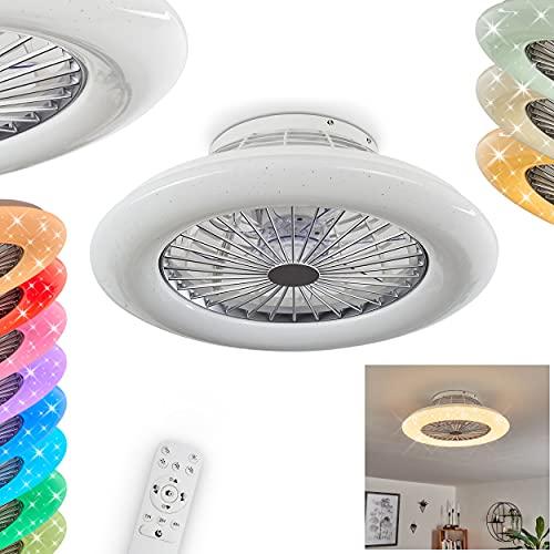 LED Deckenventilator Piraeus, Deckenlampe mit Ventilator aus Metall und Kunststoff in Weiß, RGB Farbwechsler, über Fernbedienung dimmbar, Timer und Nachtlicht, 40 Watt, 2200 Lumen, 3000-6500 Kelvin