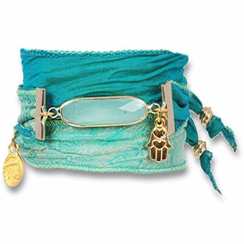 Anisch de la Cara Pulsera de mujer de seda verde menta india Sari cristal Sari verde legitimidad ia-m verde
