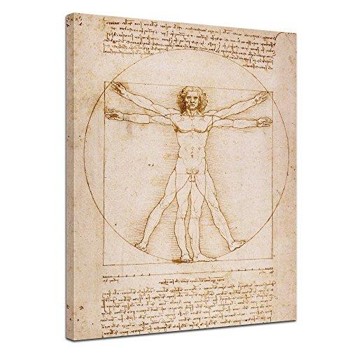 Leinwandbild Leonardo da Vinci Vitruvianischer Mensch - 30x40cm hochkant - Wandbild Alte Meister Kunstdruck Bild auf Leinwand Berühmte Gemälde