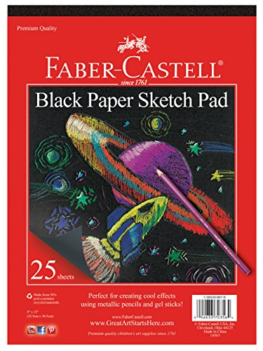 "Faber-Castell Black Paper Pad - 25 Sheets of 9"" x 12"