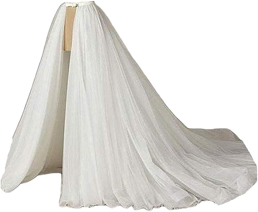 Simlehouse Elegant 5 Layers Tulle Detachable Overskirt Train for Wedding White/Ivory