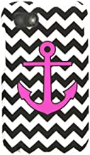 Cell Armor Snap-On Cover for BlackBerry Q5 - Retail Packaging - Pink Achor on Black and White Chevron