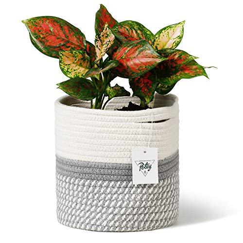 POTEY 700601 Cotton Rope Woven Plant Basket Modern Woven Basket for 7' Flower Pot Floor Indoor Planters,Storage Organizer Basket Rustic Home Decor, White Grey Stripes 8'x 7.5'