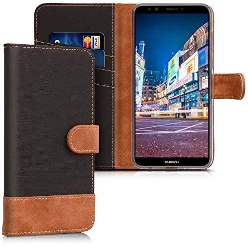 kwmobile Wallet Hülle kompatibel mit Huawei Y7 (2018)/Y7 Prime (2018) - Hülle Kunstleder mit Kartenfächern Stand in Schwarz Braun