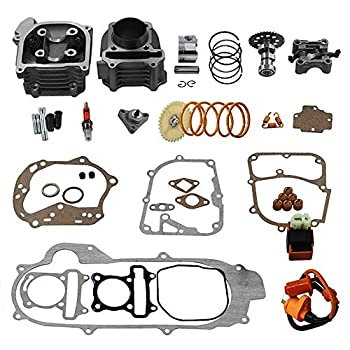 GY6 Cylinder Rebuild Kits Trkimal 100cc Big Bore Kit for 64mm Valve 49CC 50CC 139QMB Moped Scooter Engine 50mm Bore Upgrade Set with 6pin Racing CDI Ignition Coil Performance Spark Plug Clutch Spring