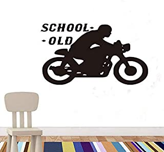vbgdf Wall Sticker Old School Motorcycle Wall Stickers Sports Motorcycle Art Wall Decoration Home Decoration Children Room Removable Wallpaper 102 58Cm