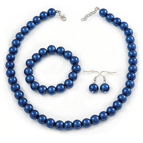 12mm color azul marino, con cuentas de cristal collar, Flex pulsera y pendientes de gota Conjunto chapado en plata–46cm L/5cm Ext