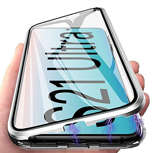 Funda para Samsung Galaxy S21 Ultra Carcasa Adsorción Magnética, E-Lush Funda 360 Grados Protección Transparente Caso Metal Flip Cover Frontal y Posterior Vidrio Templado Anti Choque Case Cover, Plata