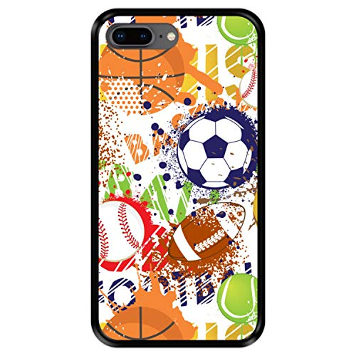 Hapdey Funda Negra para [ iPhone 7 Plus - 8 Plus ] diseño [ Patrón Deportivo con Bolas 1 ] Carcasa Silicona Flexible TPU