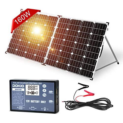 DOKIO Pannello solare pieghevole da 150 W con regolatore di carica solare (PWM), 2 porte USB, per batterie da 12 V, con borsa per il trasporto da campeggio solare, adatto per camper, barche