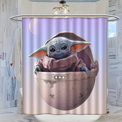 Duschvorhang, waschbar, wasserdicht, Motiv: Star War The Mandalorian Cute Baby Yoda Frontal View Warm Duschvorhang 183 x 183 cm