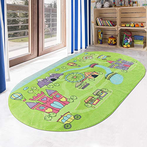 LIVEBOX Play Mat,Faux Wool Cartoon Amusement Park Area Rugs 3' x 5' Non-Slip Childrens Carpet Colorful Educational &Fun Throw Rug for Living Room Bedroom Playroom Nursery Decor 2019 Best Shower Gift