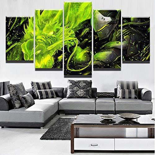 CANPIC Wandkunst Moderne Leinwand Gedruckt 5 Panel Overwatch Genji Und Green Dragon Malerei Modularen Bilder Wohnkultur Wohnzimmer Poster, 30X40 30X60 30X80 cm