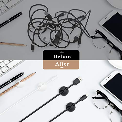 Smilife White Cable Clip Cord Organizer, Wire Organizer for Desk, Cord Management for Car, Cord Cable Holder, 9 Pack