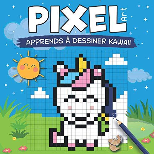 PIXEL ART - Apprends à dessiner Kawaii: dessine et colorie des personnages Kawaii sur quadrillage (animaux, fruits, objets) à partir de modèles. Avec aide au repérage. A partir de 7 ans.