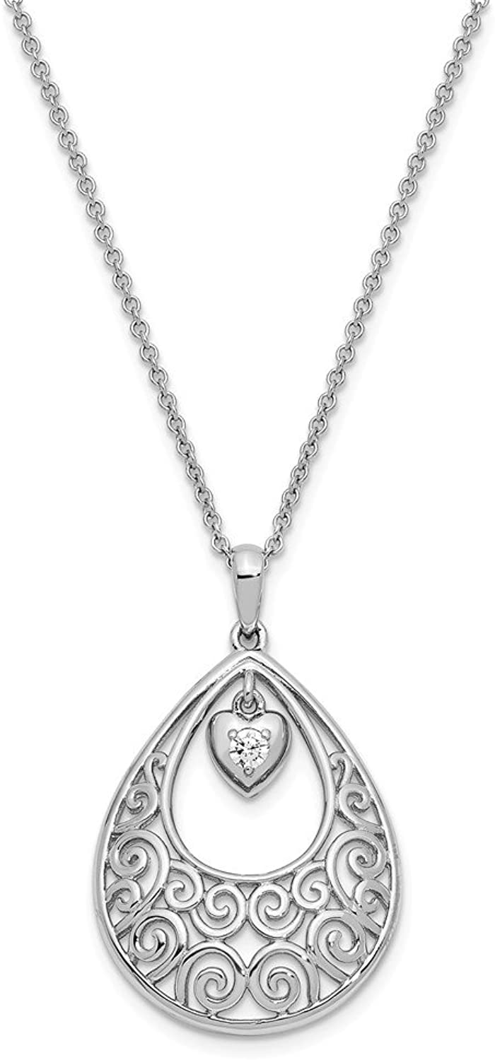 925 Sterling Silver CZ Without You 18in Necklace