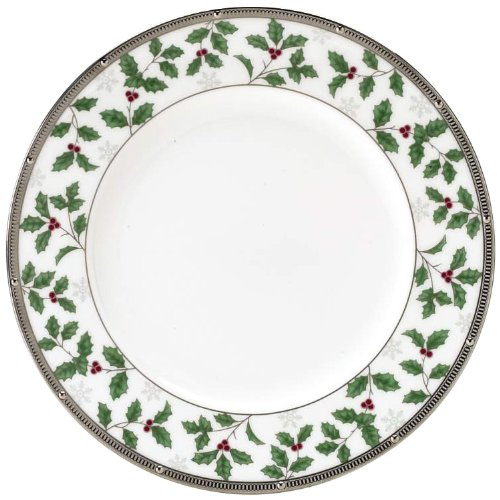 Noritake Rochelle Holiday Accent Plate, 9-Inch, Platinum