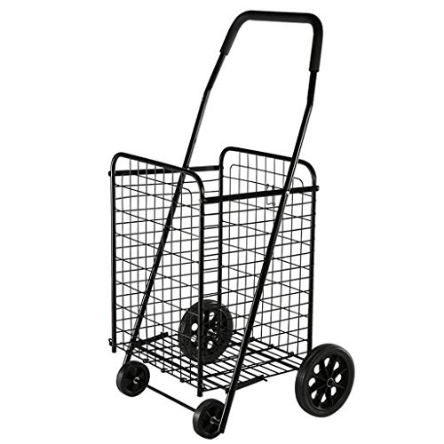 Large-Capacity Supermarket Black Folding Shopping Cart - [Delivery from US] Easy Storage Shopping Cart
