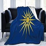 Flanelldecke mit Mazedonien-Flaggen, flauschig, bequem, warm, leicht, weich, Überwurf für Sofa, Couch, Schlafzimmer
