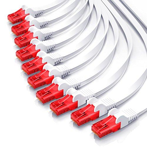 CSL - 10x 0,5m Cable Plano de Red Gigabit Ethernet LAN Cat.6 RJ45-10 100 1000Mbit s - Cable de conexión a Red Slim Design - UTP - Compatible con Cat.5 Cat.5e Cat.7
