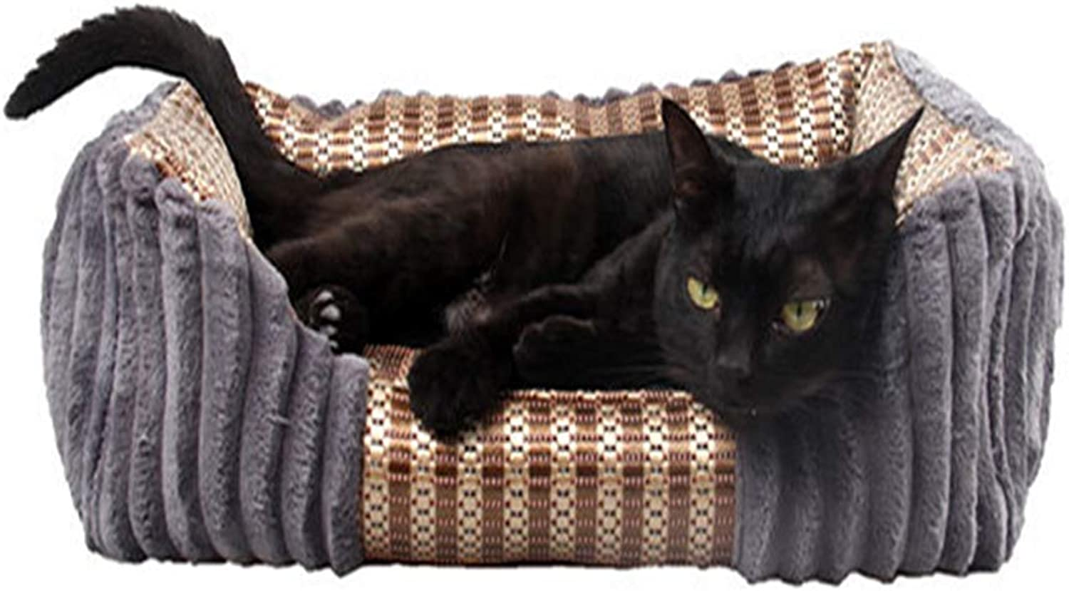"""Luxury Pet Bed Four Seasons Universal Soft and Cool Two Sides Available Cat Dog Bed Square NonSlip Kennel, Cats Medium and Small Dogs,Navy,S=19.7""""15.7""""7"""""""