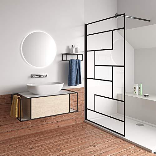 120x200cm Mamparas de Ducha Pantalla Panel Fijo estilo industrial negro Con Cuadrados...