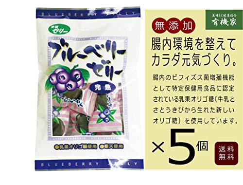 無添加 ブルーベリーゼリー 完熟味 110g ×5個 ★送料無料 ネコポス★甘味は水飴とオリゴ糖を使用し、砂糖は使用せずに作った完熟ブルーベリーの寒天ゼリーです。
