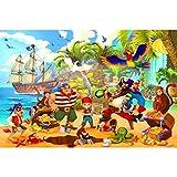 GREAT ART XXL Papel Pintado fotográfico - Piratas - decoración Mural habitación Infantil Aventura Barco Pirata Isla del Tesoro niños niñas ilustración Papel Tapiz cómico (336 x 238 cm - 8 Partes)