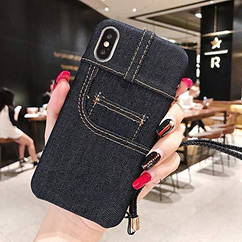 JINYIWEN telefoonhoesje Klassieke mode-innovatie Blauw Zwart denim kaartzak portemonnee schaal anti-drop TPU jeans vooruitzichten voor iphone X 6 Plus telefoonhoes-voor iPhone X-Dark Blue-Front