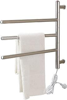 Stainless Steel Heated Towel Rail, 3-Bar Rotatable Towel Warmer, Wall-Mounted Electric Towel Drying Rack, Hardwired and Plug in, IP56 Waterproof